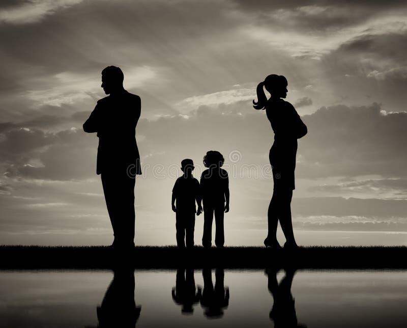 Konflikt och skilsmässa i familjen royaltyfria foton