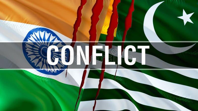 Konflikt på Kashmir och Indien flaggor Vinkande flaggadesign, tolkning 3D Kashmir Indien flaggabild, tapetbild Kashmirn indier royaltyfria foton