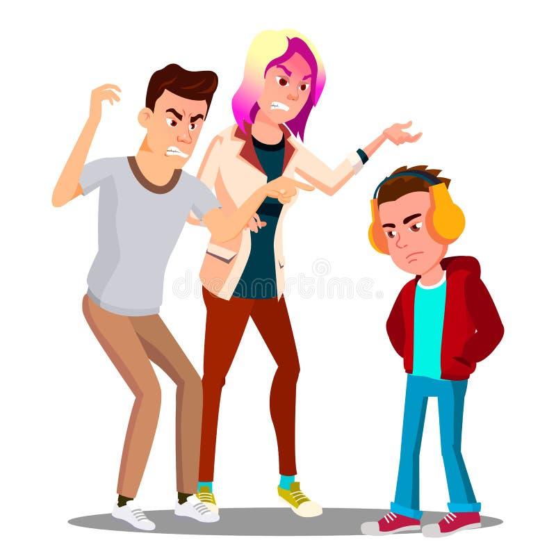 Konflikt Z rodzicami, ojciec i matka łajania nastolatka wektor button ręce s push odizolowana początku ilustracyjna kobieta ilustracja wektor