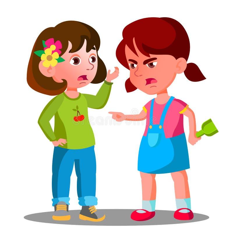 Konflikten mellan ungar, flickabarn slåss vektorn isolerad knapphandillustration skjuta s-startkvinnan vektor illustrationer