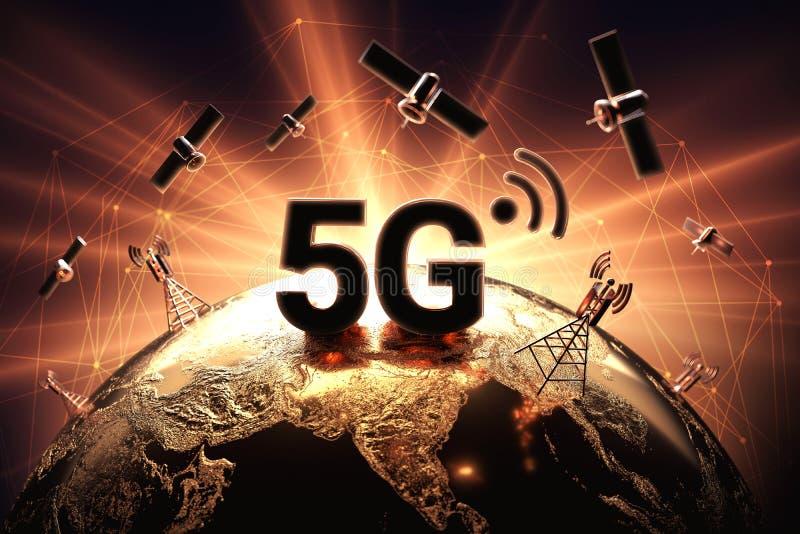 Konflikten runt om nätverket 5G illustrerade med closeupen på jordklotet och den röda och orange signalljuset Krig på begrepp för royaltyfri illustrationer