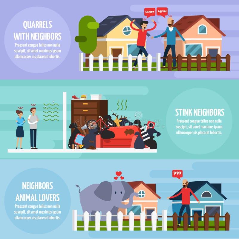 Konflikter med grannebaneruppsättningen stock illustrationer