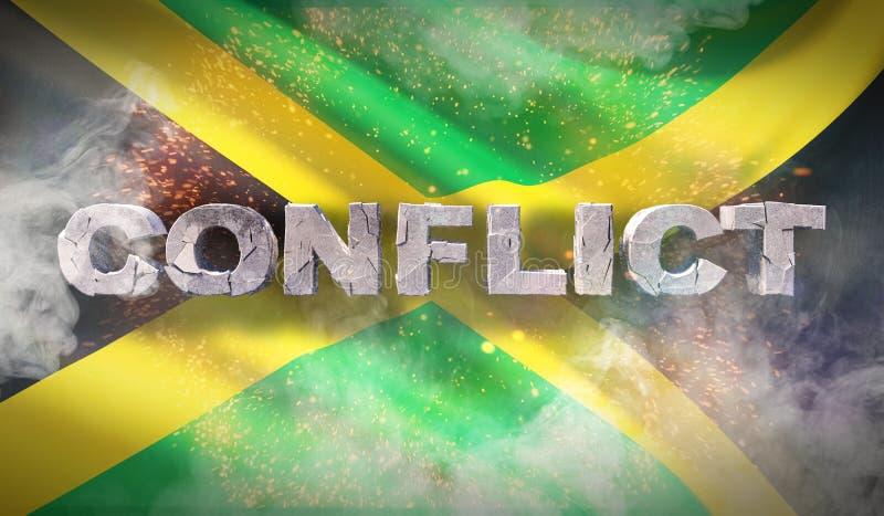 Konfliktu pojęcie w Jamajka Machająca wysoce szczegółowa tkaniny tekstura ilustracja 3 d fotografia stock