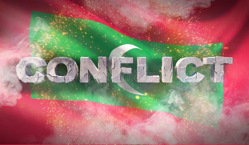 Konfliktu pojęcie w Maldives Machająca wysoce szczegółowa tkaniny tekstura ilustracja 3 d zdjęcia royalty free
