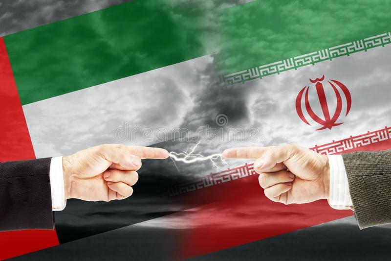 Konfrontacja i wrogość między Arabskimi emiratami i Iran zdjęcia royalty free