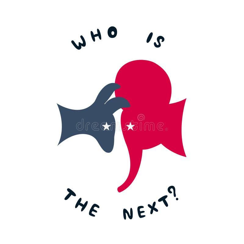 Konfrontacja między demokratycznym osłem i republikańskim słoniem ilustracja wektor