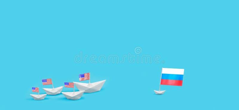 Konfrontation mellan USA och Ryssland Hot av det kärn- slaget Beväpnade sammandrabbningkrigsskepp sjö- vektor för extra för eps-f fotografering för bildbyråer