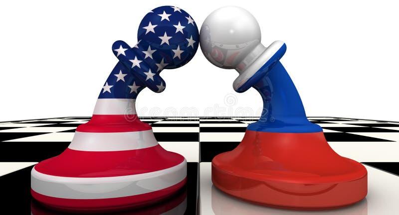 Konfrontationen mellan Ryska federationen och Amerikas förenta stater mot som kroken för hang för dollar för bakgrundsbetebegrepp stock illustrationer