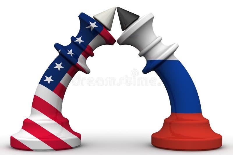 Konfrontationen mellan Ryska federationen och Amerikas förenta stater mot som kroken för hang för dollar för bakgrundsbetebegrepp vektor illustrationer