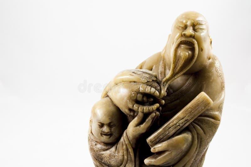 Konfucius staty med kopieringsutrymme arkivbilder
