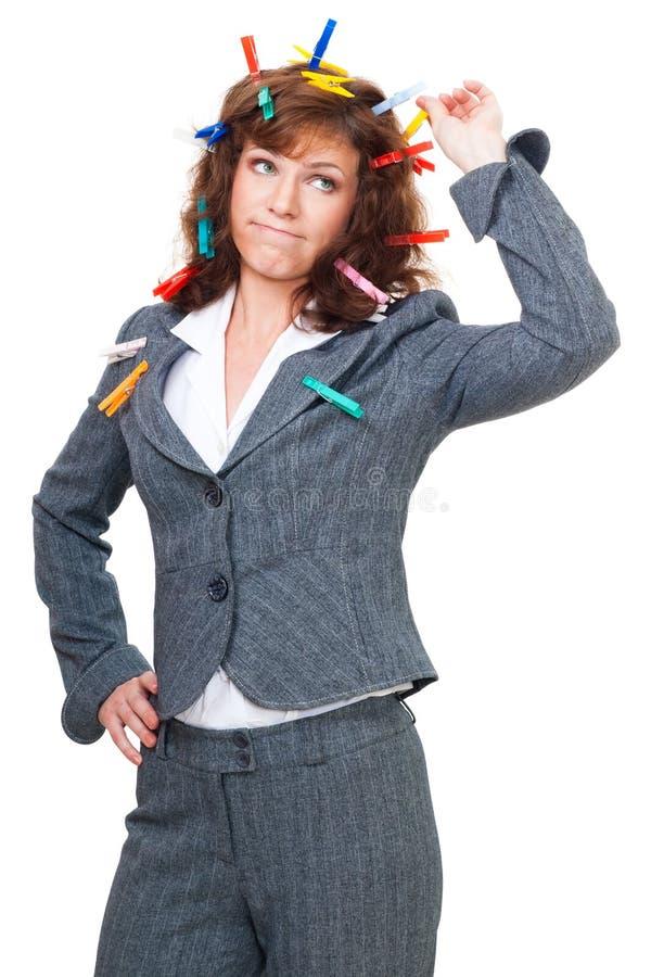 Konfuse Bürofrau lizenzfreies stockbild