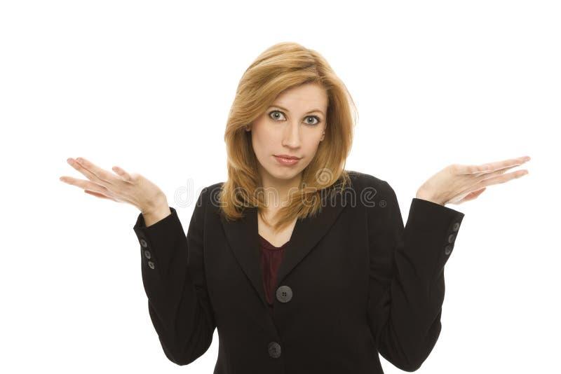 Konfuse Geschäftsfrau Lizenzfreies Stockfoto