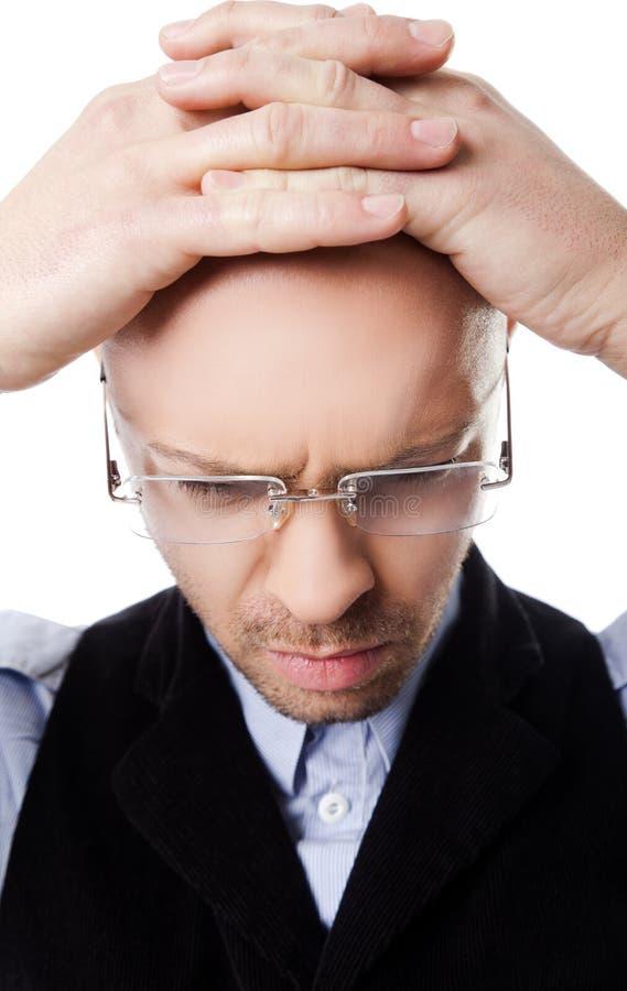 Konfuse Mannhände auf Kopf lizenzfreies stockbild