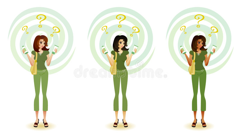 Konfuser Verbraucher - umweltfreundliche Produkte vektor abbildung