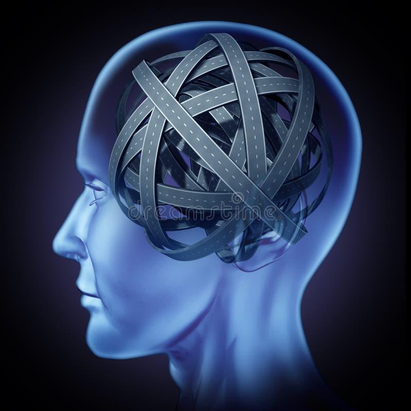 Konfuses verwirrtes menschliches Gehirn lizenzfreie abbildung