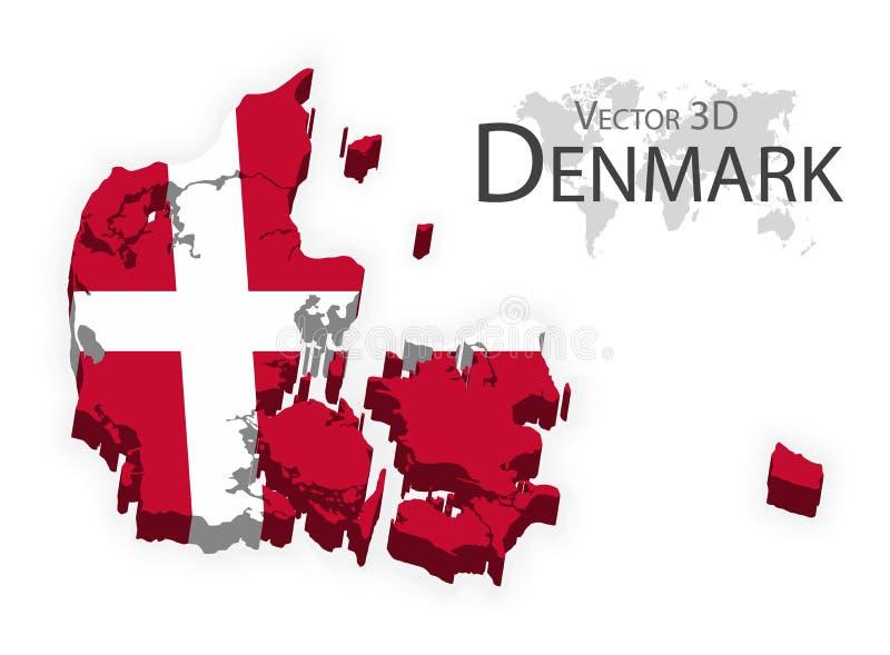 Kongeriget Danmark 3D (flaggan och översikten) (trans.- och turismbegreppet) royaltyfri illustrationer