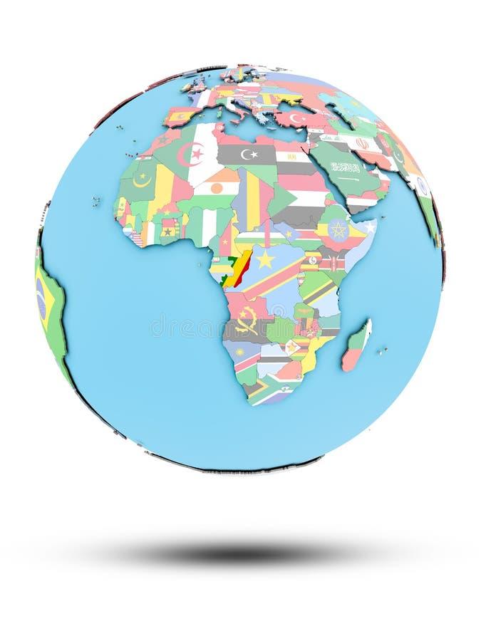 Kongo na politycznej kuli ziemskiej z flaga royalty ilustracja