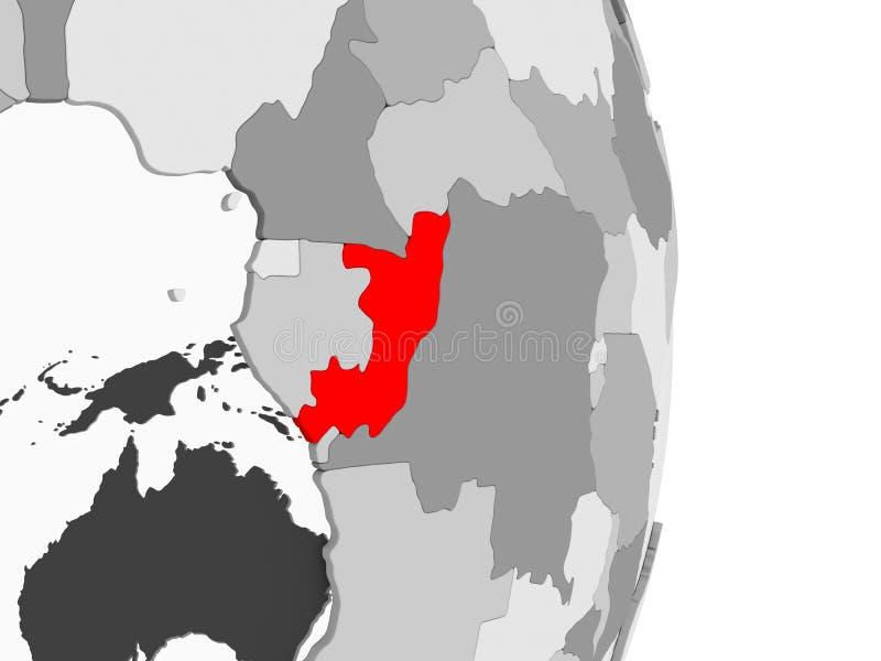 Kongo na popielatej politycznej kuli ziemskiej ilustracji