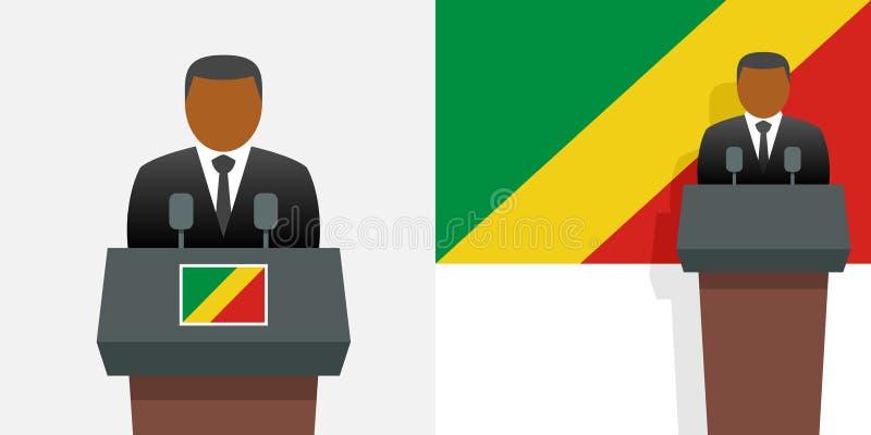 Kongo-Präsident und -flagge stock abbildung