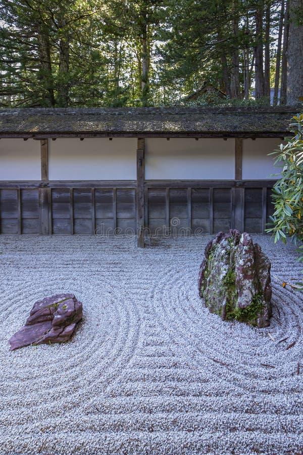 Kongobu-ji, the ecclesiastic head temple of Koyasan Shingon Buddhism and Japan largest rock garden, Mount Koya. Kongobu-ji, the ecclesiastic head temple of stock image