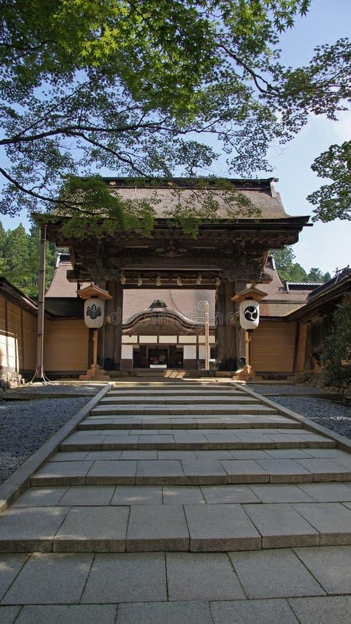 Kongobuji寺庙门在Koyasan,日本 免版税库存照片
