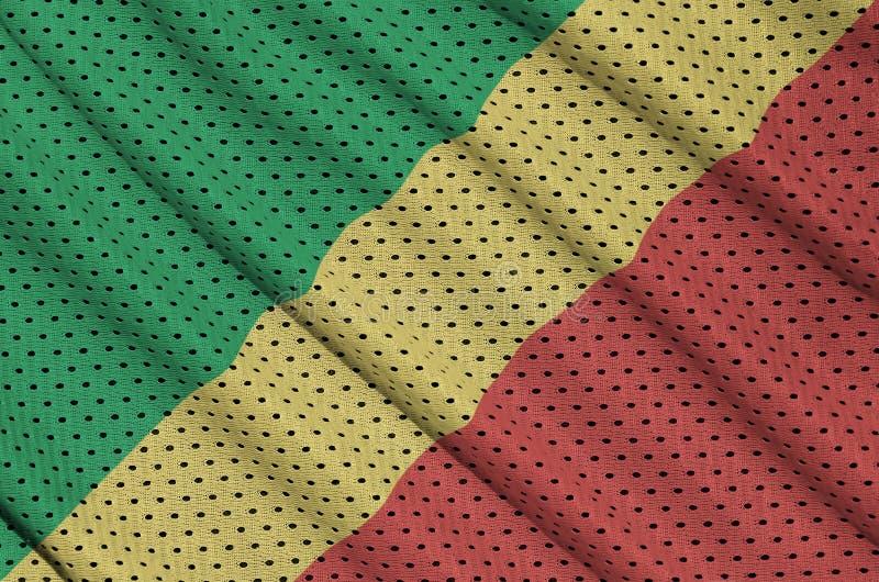 Kongoflodenflaggan skrivev ut på ett tyg för ingrepp för polyesternylonsportswear w arkivfoton