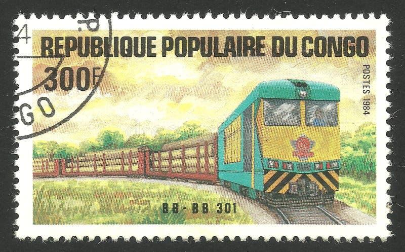 Kongoflodenjärnväg och drev royaltyfri foto