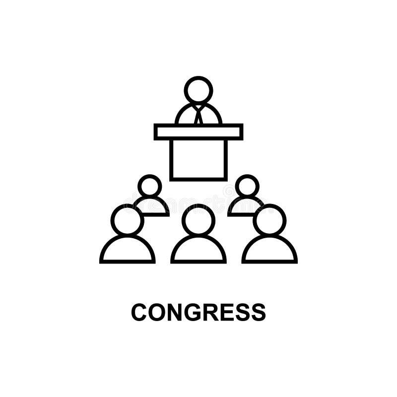 kongres mowy ikona Element konferencja z opis ikoną dla mobilnych pojęcia i sieci apps Konturu kongresu mowy ikona ilustracji