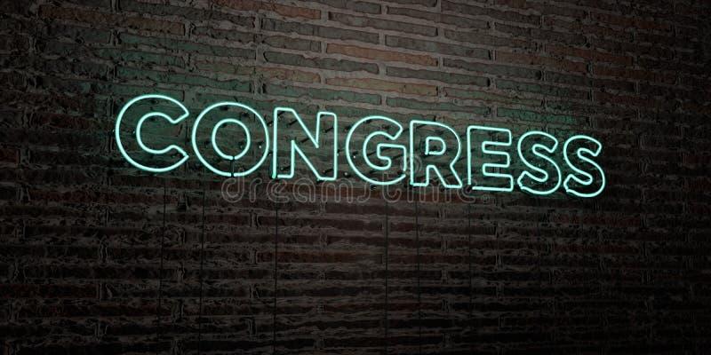 KONGRES - Realistyczny Neonowy znak na ściana z cegieł tle - 3D odpłacający się królewskość bezpłatny akcyjny wizerunek ilustracja wektor
