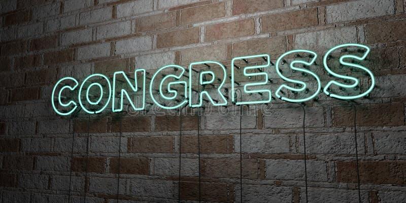 KONGRES - Rozjarzony Neonowy znak na kamieniarki ścianie - 3D odpłacająca się królewskości bezpłatna akcyjna ilustracja ilustracji