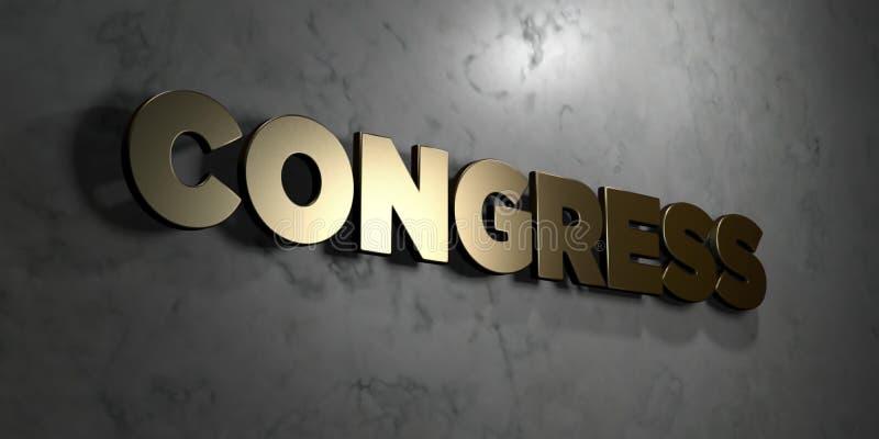 Kongres - złoto znak wspinający się na glansowanej marmur ścianie - 3D odpłacająca się królewskości bezpłatna akcyjna ilustracja royalty ilustracja