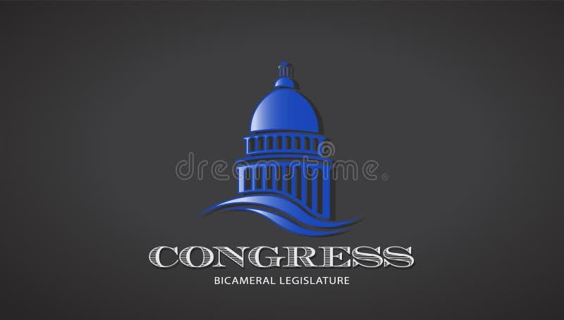 Kongresowa Capitol ikona Wektorowy Deisgn ilustracji