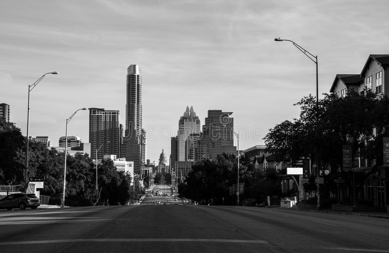 Kongresowego aleja mosta Austin monochromatyczna centrala Texas zdjęcia stock