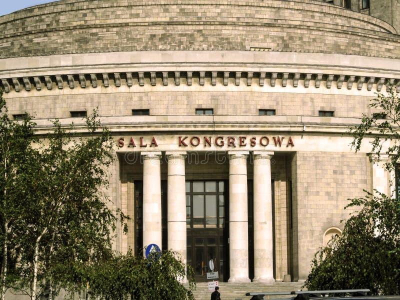 Kongress Hall i slotten av kultur och vetenskap i Warszawa, närbild royaltyfri bild