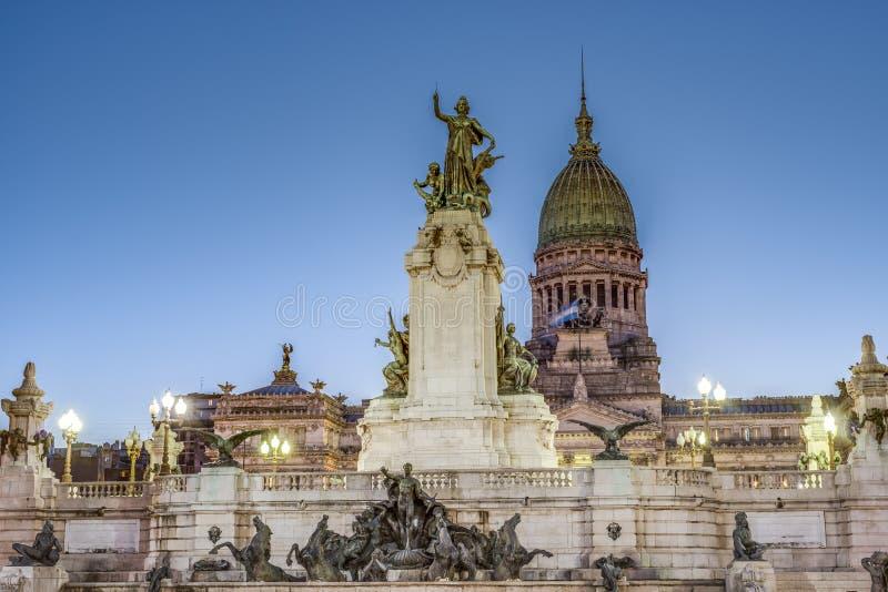 Kongressfyrkant i Buenos Aires, Argentina arkivbild