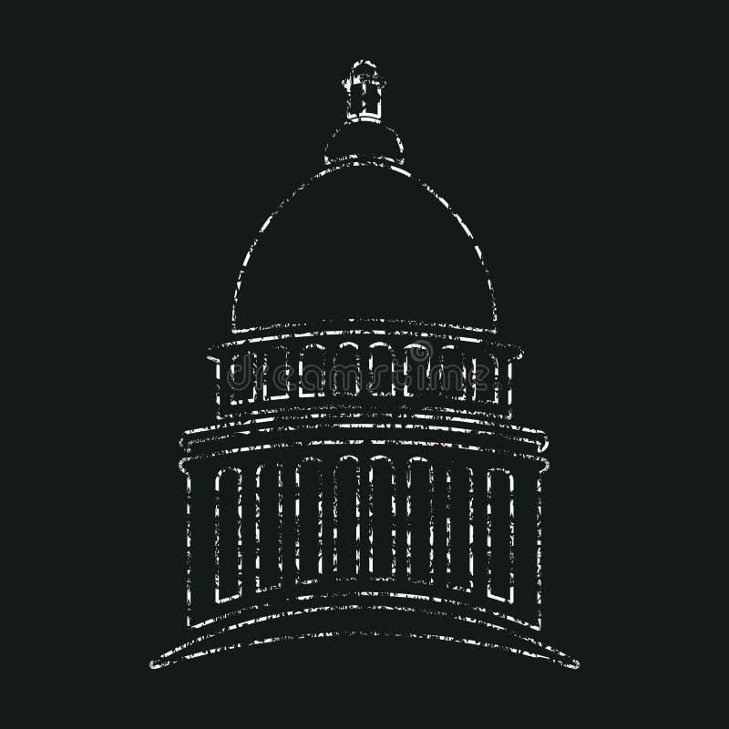 KongressKapitolium i kritadesign vektor illustrationer