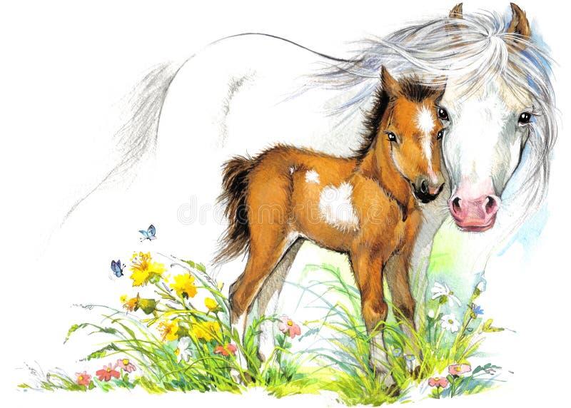 Konia i źrebięcia macierzyństwo tło powitania ilustracyjni ilustracji