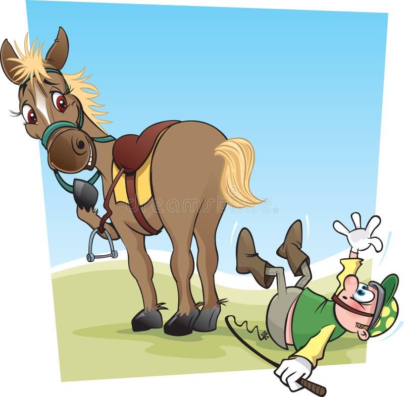 Konia I dżokeja kreskówka ilustracja wektor
