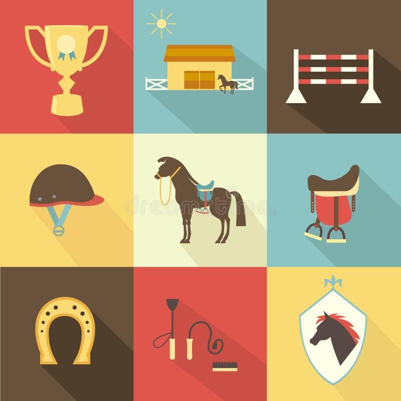 Konia i dressage ikony royalty ilustracja