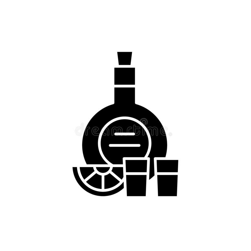 Koniak czarna ikona, wektoru znak na odosobnionym tle Koniaka pojęcia symbol, ilustracja royalty ilustracja