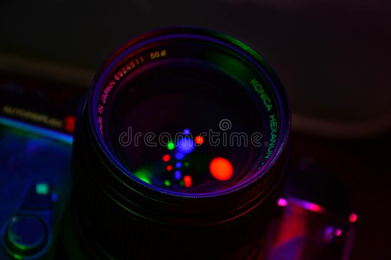 Konica lichte zwarte stock afbeeldingen