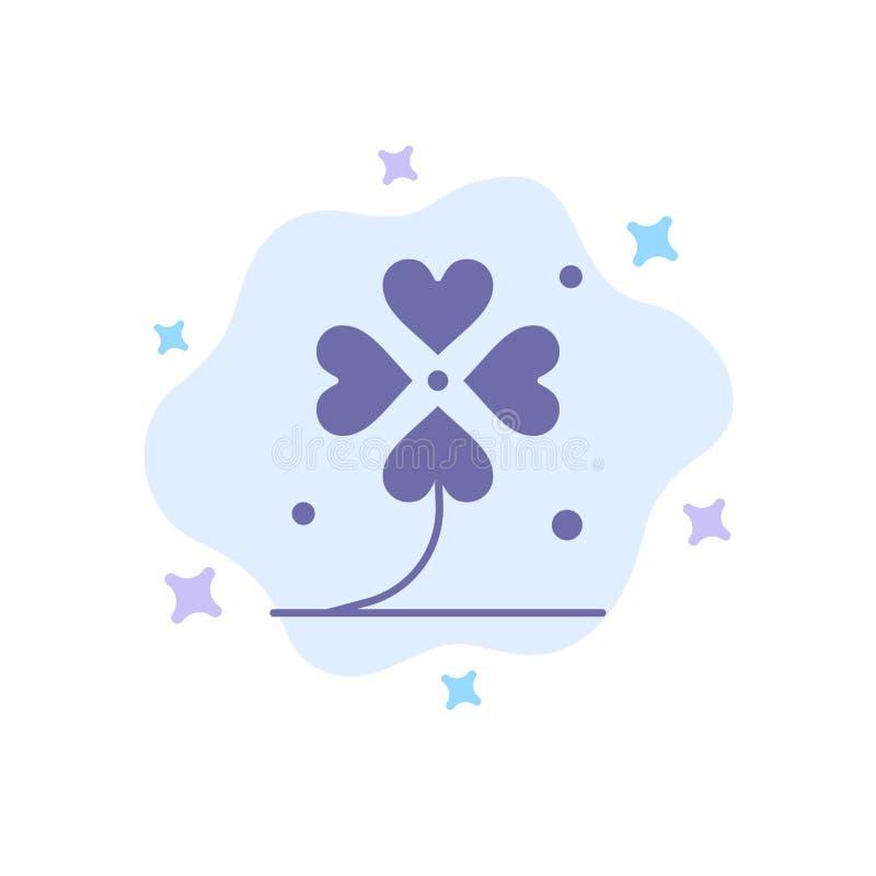 Koniczyna, Cztery, Irlandia, irlandczyk, Szczęsliwa Błękitna ikona na abstrakt chmury tle ilustracji