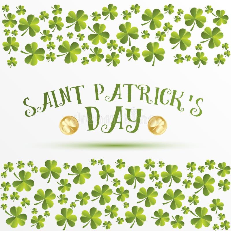 Koniczyna liści wzór Kartka z pozdrowieniami dla St Patricks dnia ilustracji