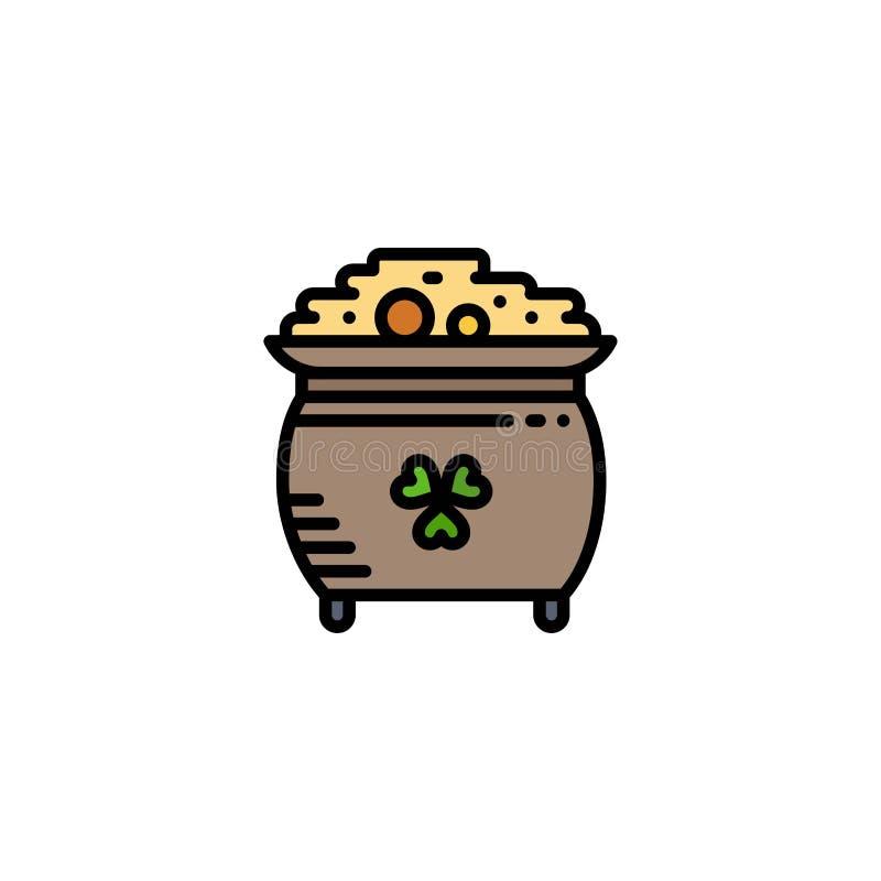 Koniczyna, moneta, złoto, garnek, St Patrick logo Biznesowy szablon p?aski kolor ilustracji