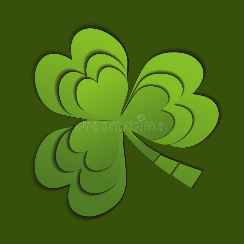 Koniczyna, shamrock papieru cięcia styl St Patrick ` s dnia 3d symbol pojedynczy białe tło również zwrócić corel ilustracji wekto ilustracja wektor
