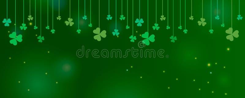 Koniczynowi shamrock liście wieszali na sznurkach na ciemnozielonym tle Abstrakta St Patrick dnia granicy panoramy horyzontalny t ilustracji