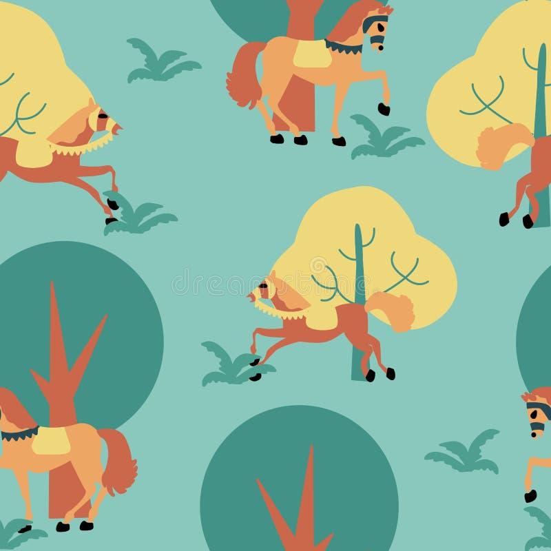 Konie i drzewa, w bezszwowym deseniowym projekcie ilustracji