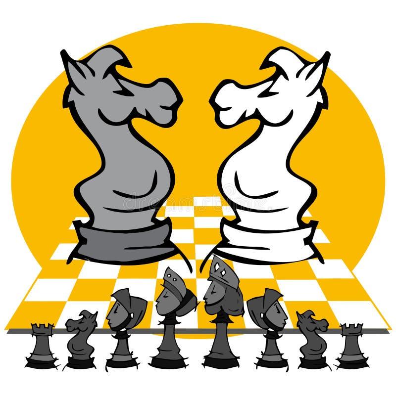 Konie: Szachowa gra, kreskówka ilustracji