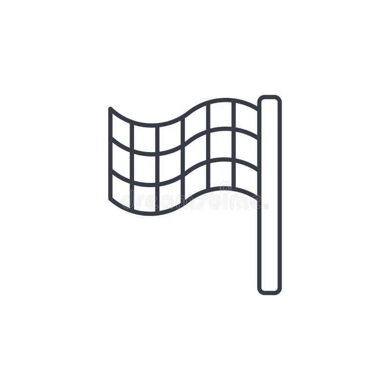 Koniec flaga cienka kreskowa ikona Liniowy wektorowy symbol ilustracji