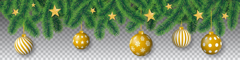 Koniferenbaumaste des nahtlosen Vektors mit Nadelblättern, Sternen und hängenden Weihnachtsbirnen auf transparentem Hintergrund lizenzfreie abbildung